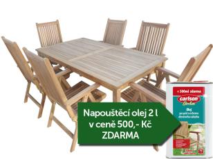 Zahradní nábytek TEXIM sestava Garden I. 1+6 + napouštěcí olej 2l zdarma