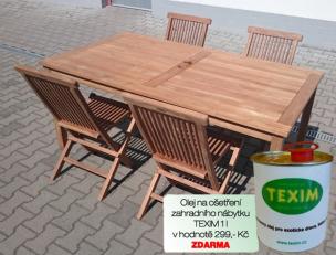 Zahradní nábytek TEXIM sestava Clasic I. 1+4 včetně oleje na ošetření zahradního nábytku