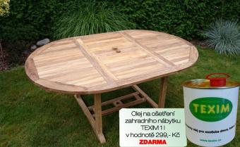 Zahradní rozkládací stůl TEXIM Jepara včetně 1 oleje na napouštění zahradního nábytku ZDARMA