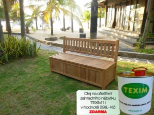 Zahradní lavice s úložným prostorem TEXIM včetně 1 l oleje na napouštění zahradního nábytku ZDARMA