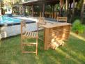 Zahradní pojizdný bar TEXIM včetně 3 křesel je vyroben z kvalitního teakového dřeva
