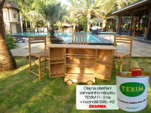 Zahradní pojizdný bar TEXIM včetně 3 křesel + 2 l oleje na napouštění zahradního nábytku ZDARMA