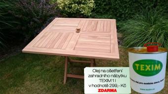 Zahradní skládací stůl TEXIM teakový 100 x 100 cm včetně 1 l oleje na napouštění zahradního nábytku ZDARMA
