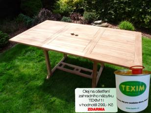 Zahradní skládací stůl TEXIM Palu včetně 1 oleje na napouštění zahradního nábytku ZDARMA