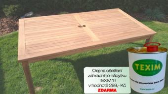 Zahradní stůl TEXIM 180 x 100 cm včetně 1 l oleje na napouštění zahradního nábytku ZDARMA