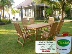 Zahradní nábytek TEXIM sestava Garden I. 1+6 včetně 2 l oleje na ošetřování nábytku ZDARMA